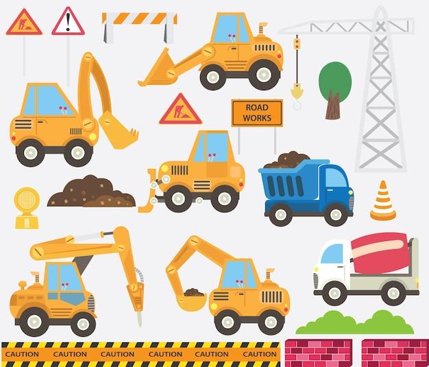 Conjunto de transporte de construção fofo