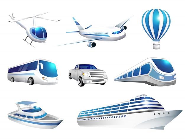Conjunto de transporte de ícones