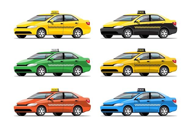 Conjunto de transporte de serviço de táxi colorido em fundo branco, ilustração plana isolada