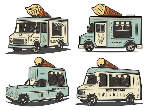Conjunto de transporte de sorvete retro colorido