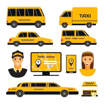 Conjunto de transporte de táxi amarelo estrada cidade