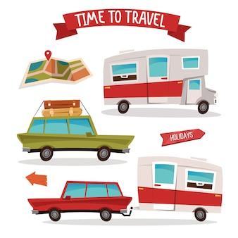 Conjunto de transporte de viagens. campista de viagens. van da família.