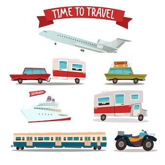 Conjunto de transporte de viagens. campista e carro. trem e avião. motocicleta atv. navio de passageiros.