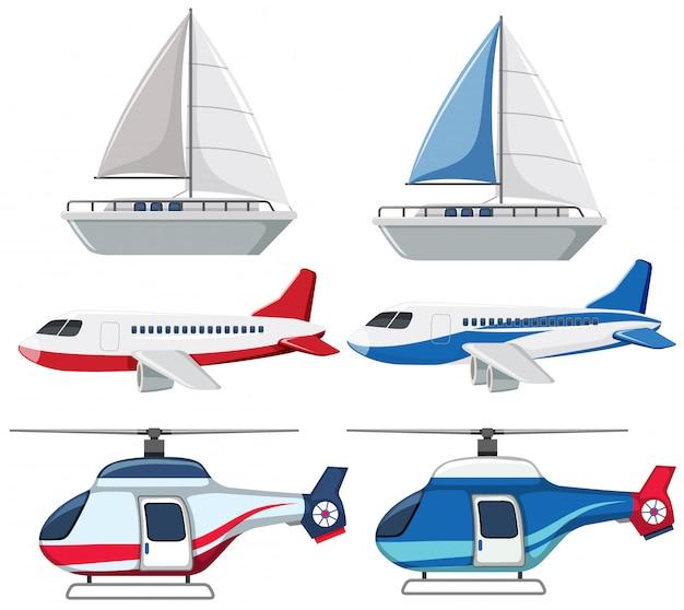 Conjunto de transporte em fundo branco