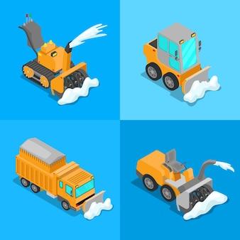Conjunto de transporte isométrico de remoção de neve com limpa-neve, caminhão e trator. ilustração 3d plana vetorial