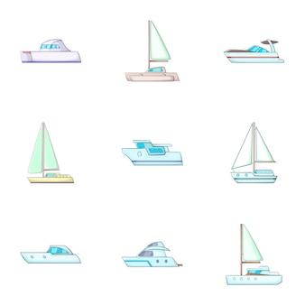Conjunto de transporte marítimo, estilo cartoon