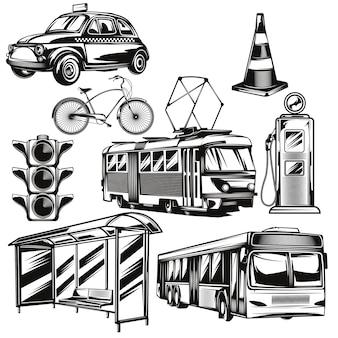 Conjunto de transporte público e partes dos elementos rodoviários