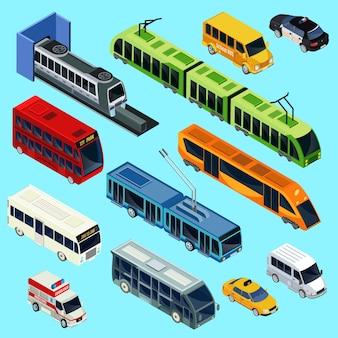 Conjunto de transporte público isométrico