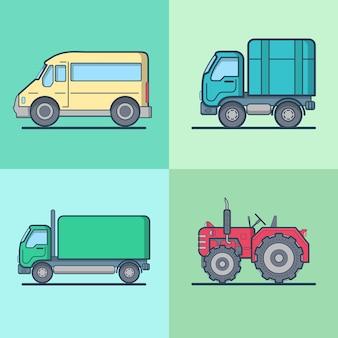 Conjunto de transporte rodoviário de bus van lorry tractor.