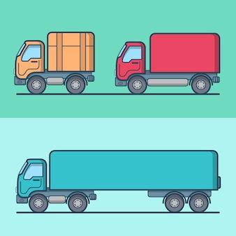 Conjunto de transporte rodoviário de caminhão van. ícones de contorno de traço linear. coleção de ícones de cor delineada.