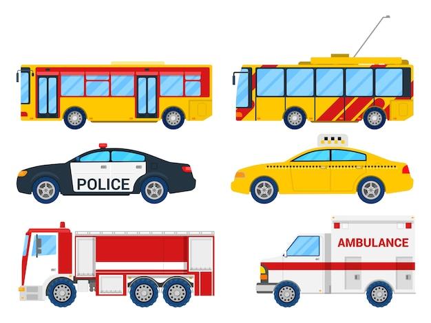 Conjunto de transporte urbano com ônibus, bonde e táxi.