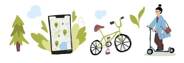 Conjunto de transporte urbano ecológico mulher andando de bicicleta elétrica com patinete aplicativo de serviço de aluguel