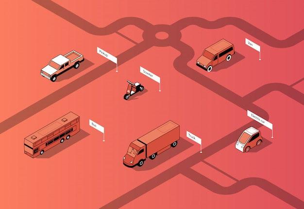 Conjunto de transporte urbano isométrico, carros