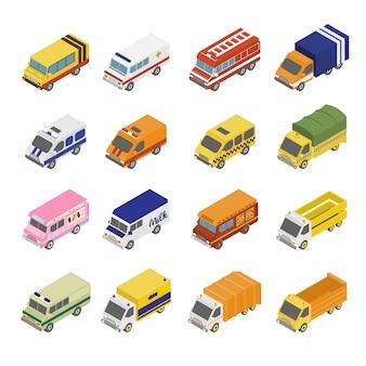 Conjunto de transporte utilitário. plano 3d isométrico