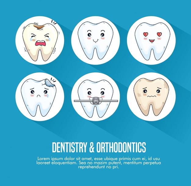 Conjunto de tratamento odontológico e dentes instrumento médico