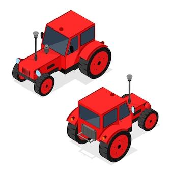 Conjunto de trator agrícola vermelho para trabalhar na agricultura