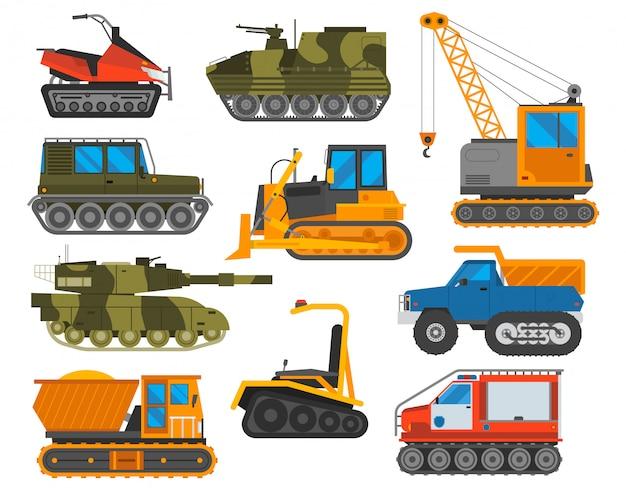 Conjunto de trator de equipamentos caterpillar.