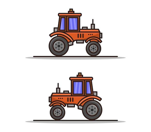 Conjunto de trator ilustrado desenho animado