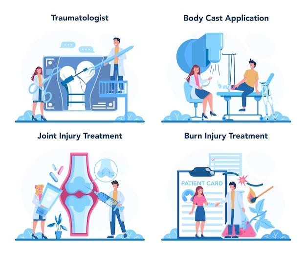 Conjunto de traumatologista e médico cirurgião de trauma