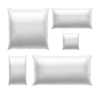 Conjunto de travesseiro quadrado realista em branco branco para dormir.