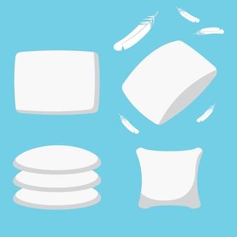 Conjunto de travesseiros de penas. ícones lisos simples dos desenhos animados do coxim isolados em um fundo azul.
