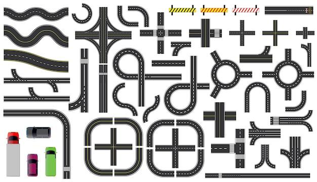 Conjunto de trechos de estradas com linha tracejada, marcação de cruzamentos, cruzamento e faixa de pedestres