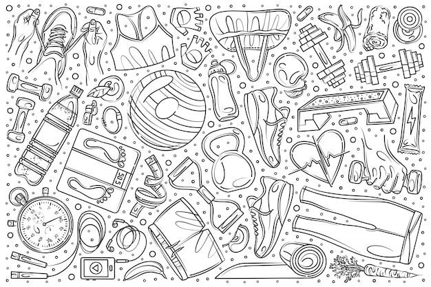 Conjunto de treinamento de fitness mão desenhada doodle