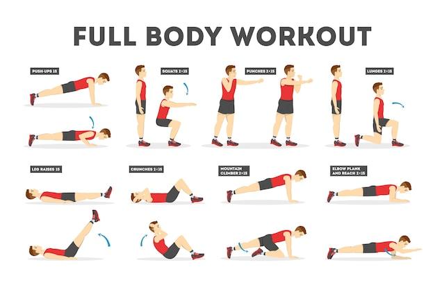 Conjunto de treino de corpo inteiro. exercício para homem