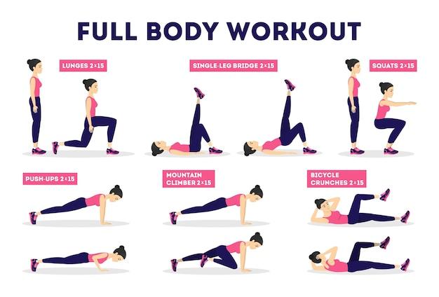 Conjunto de treino de corpo inteiro. exercício para mulher