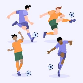 Conjunto de treino de jogadores de futebol plano