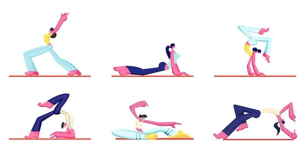 Conjunto de treino de pessoas. jovem atlético e mulheres vestindo roupas esportivas fazendo ginástica, desenho animado ilustração plana