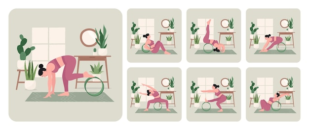 Conjunto de treino de roda de ioga jovem praticando poses de ioga