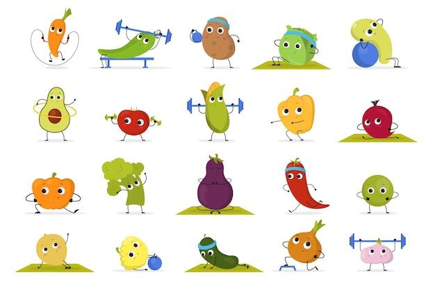 Conjunto de treino de vegetais e frutas. recolha de comida