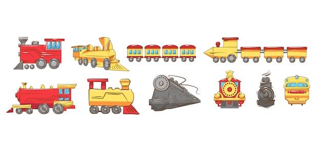 Conjunto de trem coleção gráfico clipart design