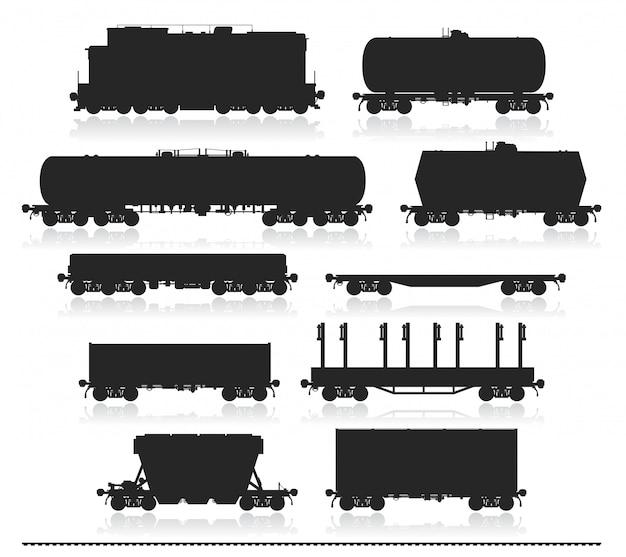 Conjunto de trem com vagões de carga.