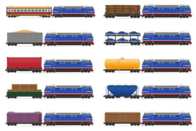 Conjunto de trem realista ferroviária com ilustração vetorial de locomotivas e vagões