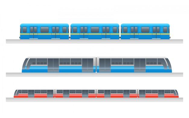 Conjunto de trem urbano subterrâneo de passageiros modernos