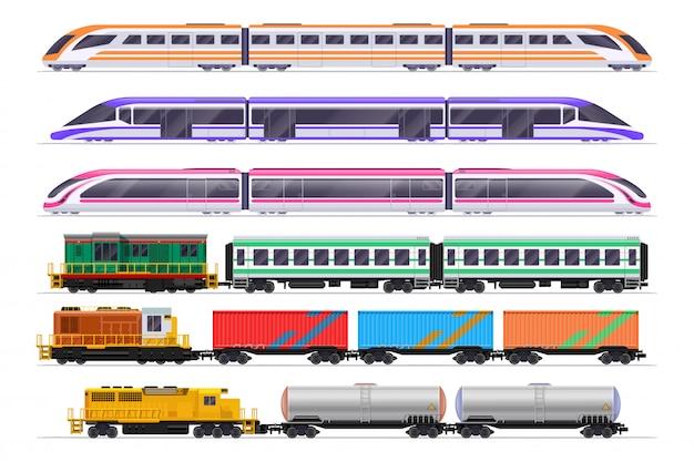 Conjunto de trens. comboio de passageiros e mercadorias com vagões