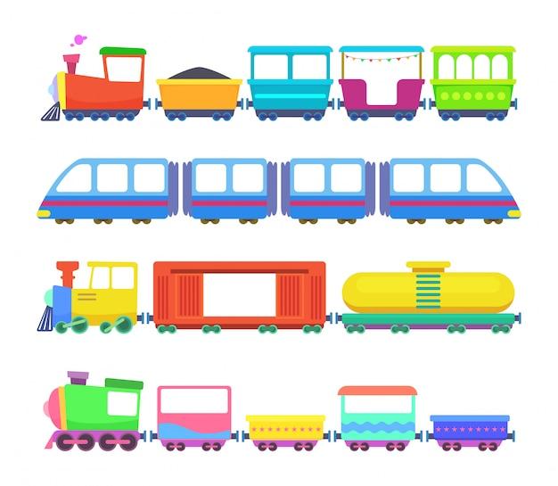 Conjunto de trens de crianças diferentes.