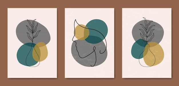 Conjunto de três abstrato estético meados do século moderno linha arte rosto retrato e folhas modelo de capa de cartaz boho contemporâneo.