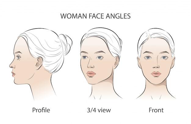 Conjunto de três ângulos diferentes. vista de frente diferente, perfil, três quartos de um rosto de menina.