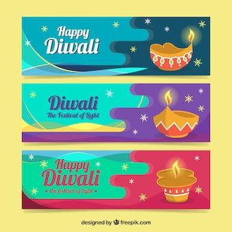 Conjunto de três bandeiras de diwali com lâmpadas de óleo