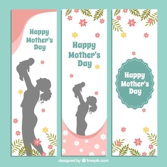 Conjunto de três bandeiras fantásticas com silhuetas e flores para o dia das mães