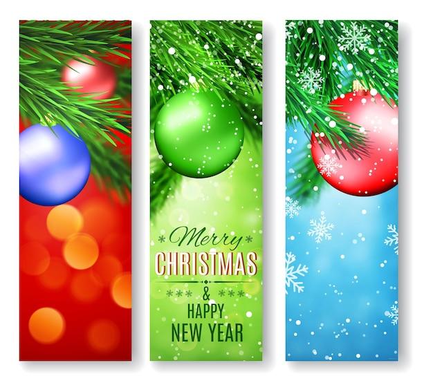 Conjunto de três banners com natal e ano novo