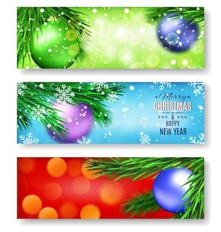 Conjunto de três banners com o natal