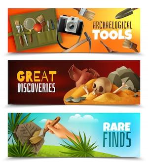 Conjunto de três banners de arqueologia horizontal com imagens de estilo cartoon e paisagens coloridas com texto editável