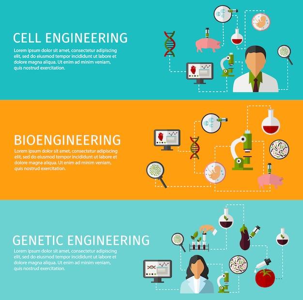 Conjunto de três banners de biotecnologia