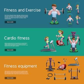 Conjunto de três banners de fitness
