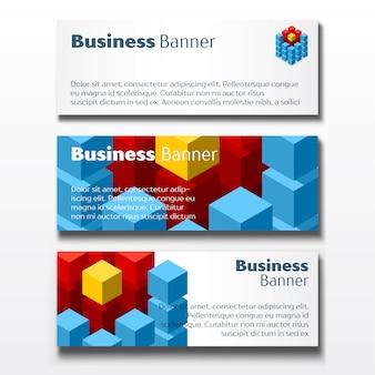 Conjunto de três banners de negócios