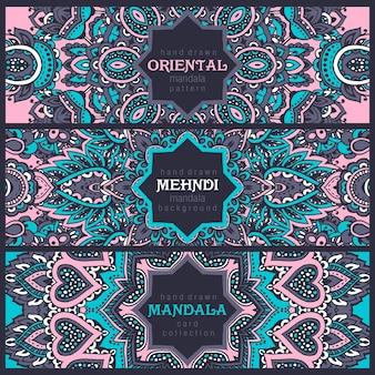 Conjunto de três banners horizontais com ornamento abstrato de henna mehndi